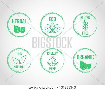 Natural green eco organic label icon set