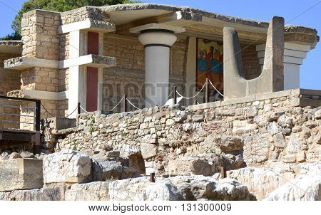 Scenes from the Minoan Knossos Palace in Crete Greece