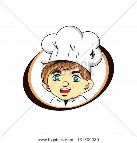 Illustration of Young Kitchen Chef Cartoon Mascot