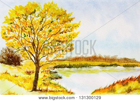 watercolor landscape background with autumn tree lake bushes and sky