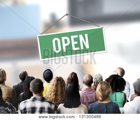 Open Sign Banner Welcome Notice Concept