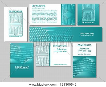 Vector set of business cards flayers banners with triangle pattern on a green blue teal background. Modern abstract style linear ornament.