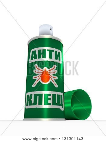 Illustration of anti-tick -russian language - spray with cap over white background. 3D rendering. Metallic painting label.