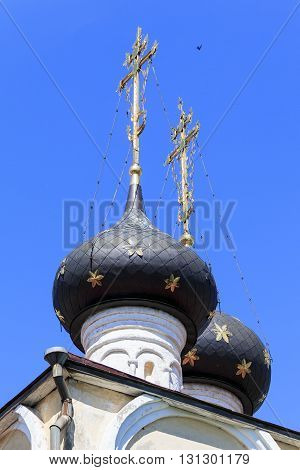 VOLOGDA, RUSSIA - MAY 27, 2013: These are traditional for the Russian Orthodox Church domes with orthodox crosses with a crescent.