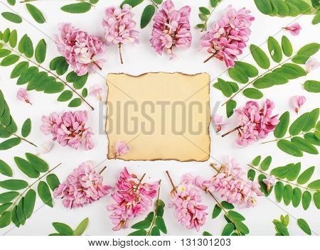 Vintage paper sheet with flowers and leaves of acacia on white background. Top view. Flat lay
