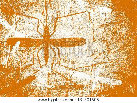 Virus diseases transmitter. Mosquito silhouette. Concrete textured surface