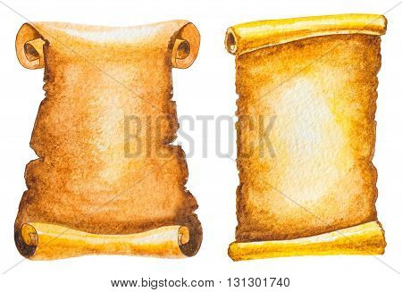 set of ancient scrolls isolated on white. watercolor illustration