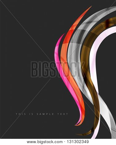 Wavy glossy futuristic swirl - color curve stripes and lines in motion concept and with light and shadow effects. Presentation banner and business card message design template