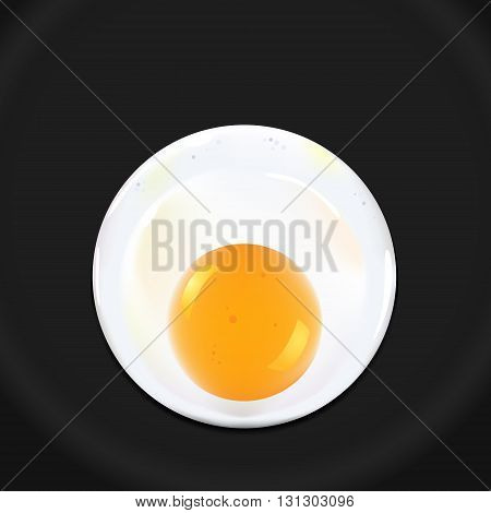 illustration Fried egg on black pan, EPS 10