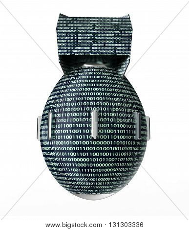 Digital Safety Concept Computer Bomb Isolated On White