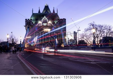 Light trails of a London Bus going over the iconic Tower Bridge