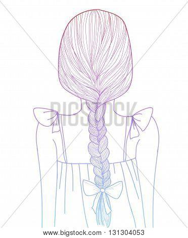 Sketch Style Girl Braid