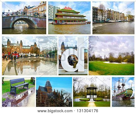 AMSTERDAM HOLLAND, MARCH 30 2015: collage with photos of Amsterdam Netherlands Holland. Rijksmuseum, Sea Palace restaurant, Vondelpark and street photography. Editorial use.