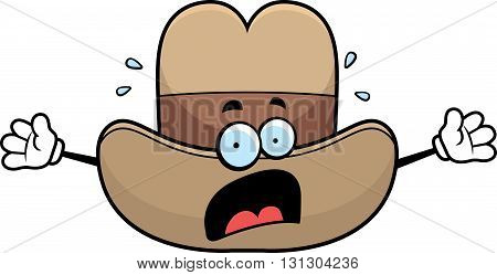 A cartoon cowboy hat with a scared expression.