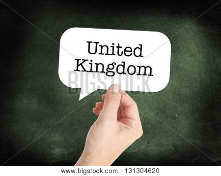 United Kingdom written on a speechbubble