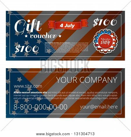 Gift voucher design dedicated independence day of america