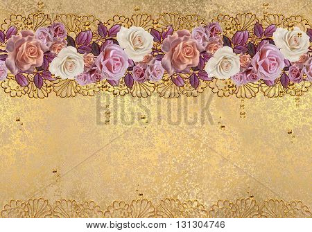 Flower garland of roses in gold braiding. Horizontal floral border. Pattern seamless. Old style gold border gold mosaic.