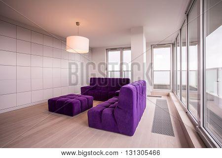 Sofa Set In Spacious Interior