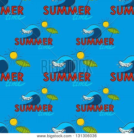 Seamless pattern. Summer time doodle postcard. Hand-drawn wave, umprella and sun. Outline