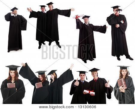 Portrait of a people in a academic gown. Education background.