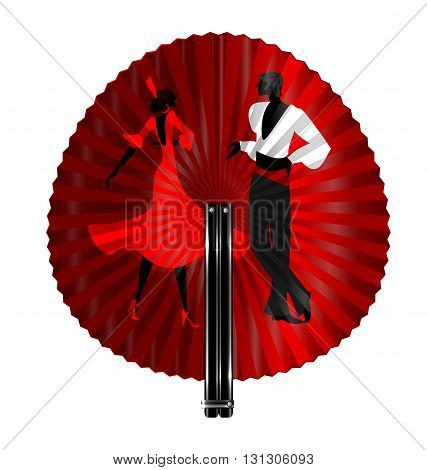 black fan with image of flamenco dancers