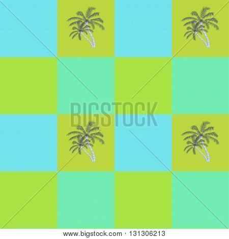 Coconut palm trees seamless pattern background, vector illustration.