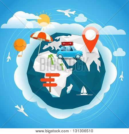 Summer season vacation concept. Travel illustration