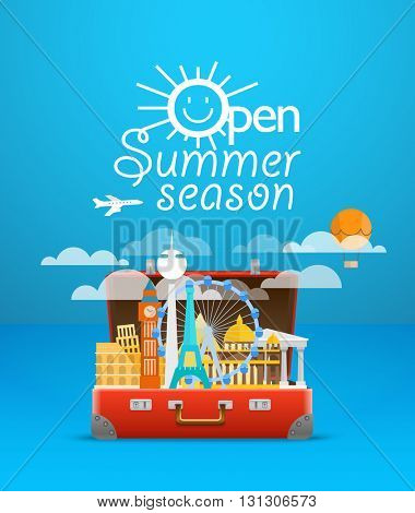 Travel bag vector illustration. Vacation design template. Open summer season