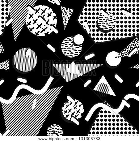 80S Pattern With Geometry Shape In Black And White