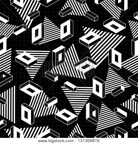 Retro Geometry Seamless Pattern In Black And White
