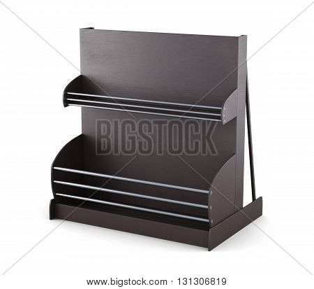 Supermarket shelves for bread and bakery products isolated on white background. 3d rendering.
