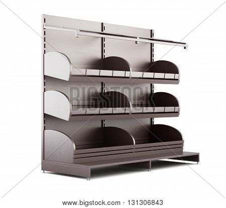 Supermarket shelves for bakery products on a white background. 3d render image