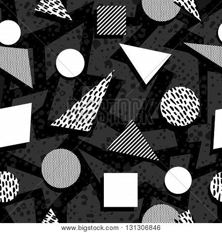 Seamless Pattern In Black And White Retro Style