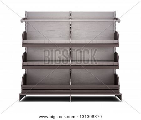 Brown rack for bakery products front view on white background. Shelves for bread. Shelf for baking. 3d rendering