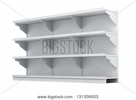 Rack with empty shelves isolated on white background. 3d rendering.