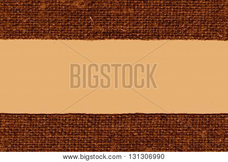 Textile linen fabric string umber canvas grained material flat background
