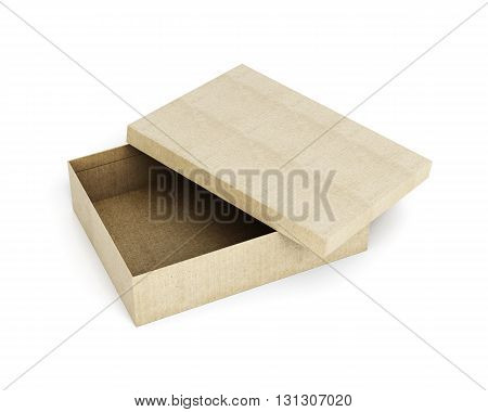 Cardboard box with open lid isolated on white background. Rectangular box. 3d rendering