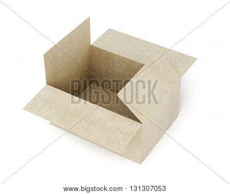 Carton box isolated on white background. 3d rendering.