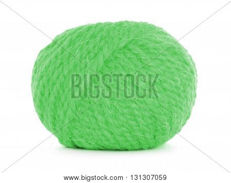 Roll of wool tangled twine isolated on white background