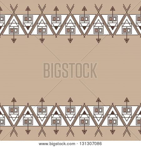 Ethnic Seamless Geometric Pattern. Empty Space For Your Text.