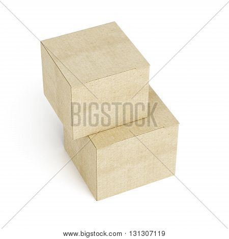 Top view of stack of cardboard boxes on white background. 3d rendering.