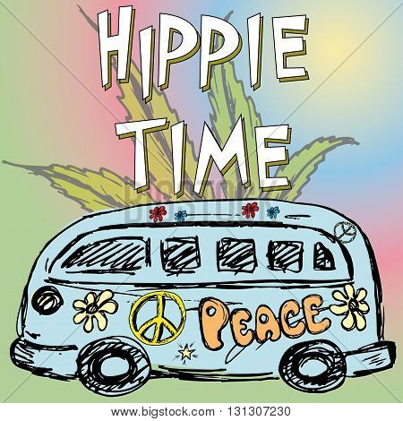 Hippie time background .Hippie van marijuana leaf. Vector illustration