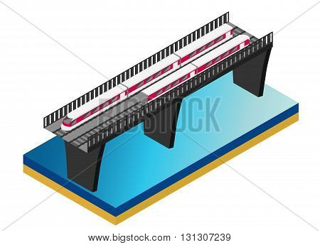 Fast Train. Vector isometric illustration of a Fast Train. Isolated vector of modern high speed train. isometric train on a railway bridge over river