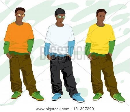 Vector illustration Set of trendy hip-hop guys