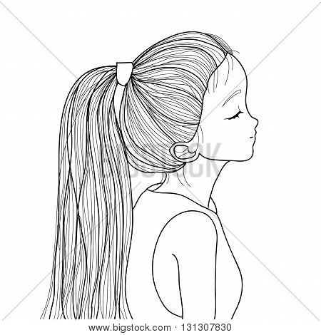 Hand-drawn Cute Girl With Ponytail