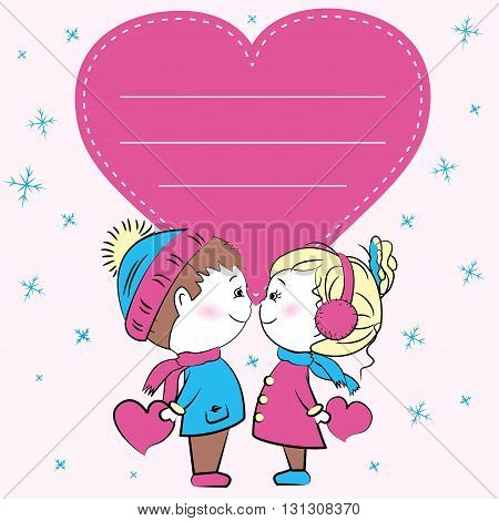 Greeting card, loving couple holding hearts, vector illustration