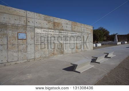 ATACAMA DESERT, CHILE - MAY 8, 2016: Memorial at the site of the Battle of San Francisco Dolores fought in 1879 during the War of the Pacific.
