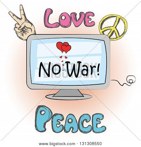 No war, hippie elements, hand drawing vector illustration