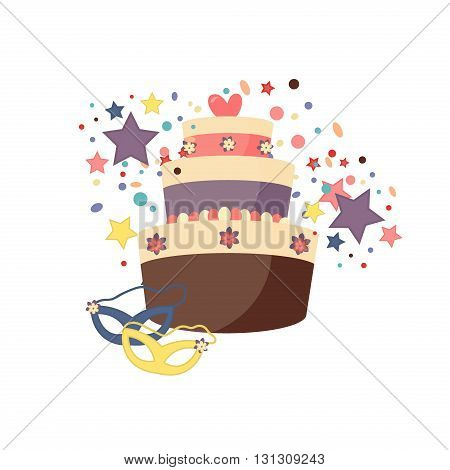 Celebration party carnival festive birthday party icons set. Colorful symbols hat, mask, gifts, balloon birthday party. Celebration fun happy birthday party and birthday party cake decoration gift.