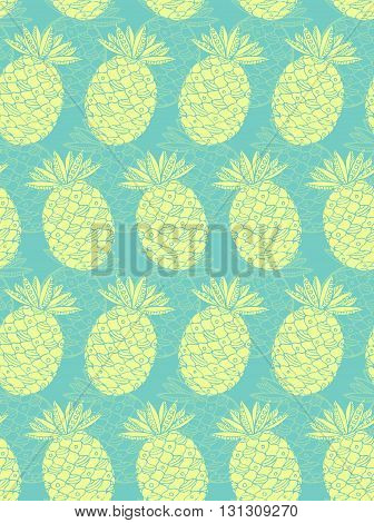 Pineapple seamless pattern. Turquoise background with ananas fruit. Vector illustration